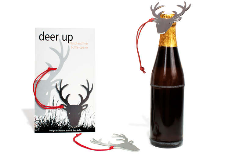 Ouvre bouteille tête de cerf en inox brossé