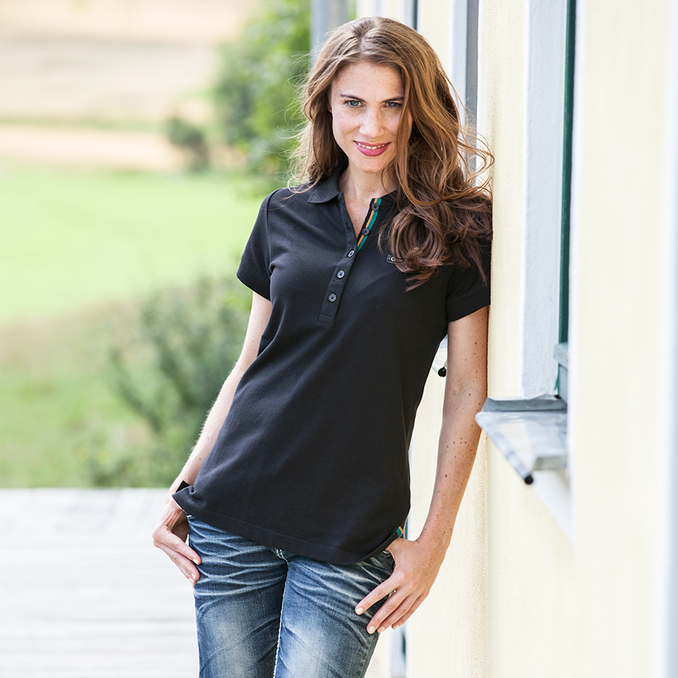 Polo noir pour femme en 100% piqué de coton