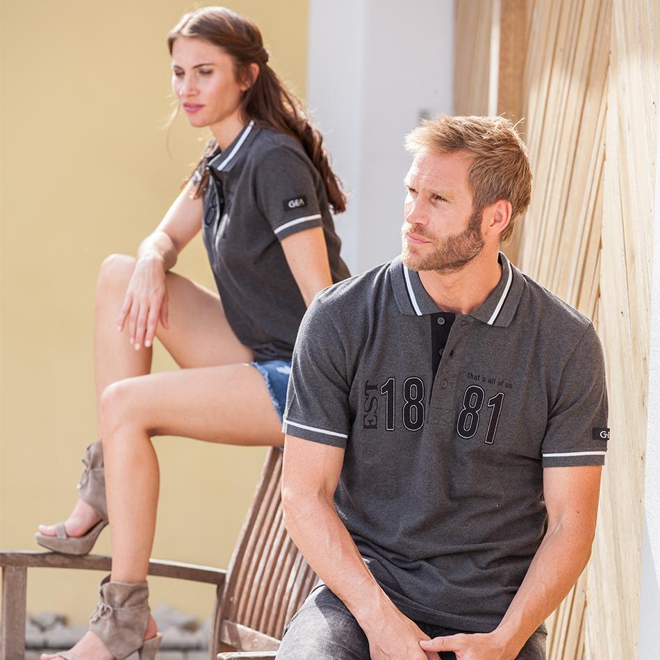 Polo gris pour homme et femme en 100% coton piqué