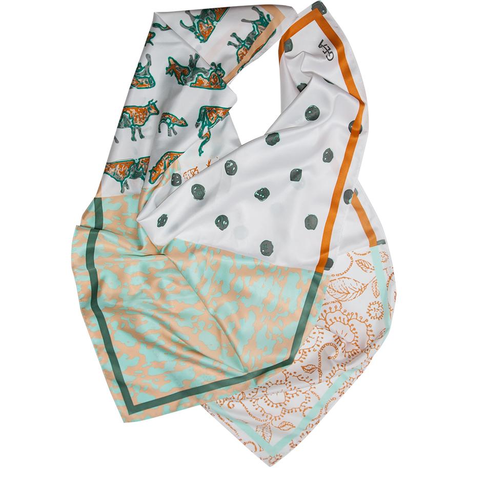 Foulard pour femme 90X90cm, en twill de polyester extra doux