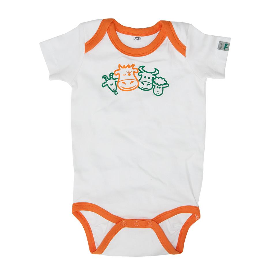 Body blanc avec liseré orange, animaux imprimé, pressions dans le bas en 100% coton