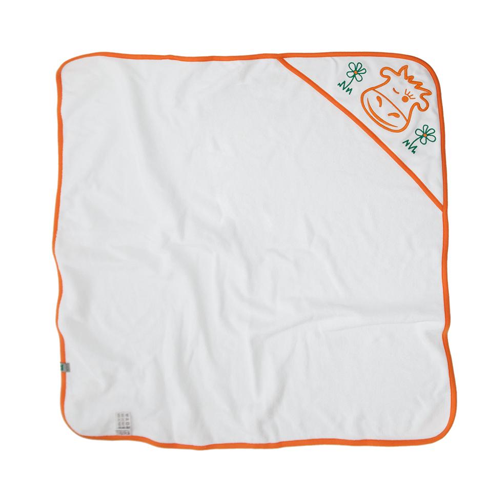 Sortie de bain blanche avec liseré orange, capuche brodée, 100% coton