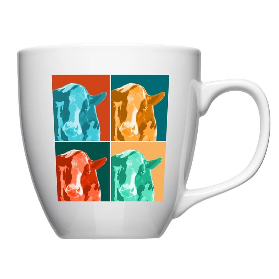 Mug en porcelaine, haut. 10cm avec vache façon Andy Wharrol