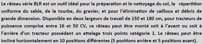 Description Rateau BLR