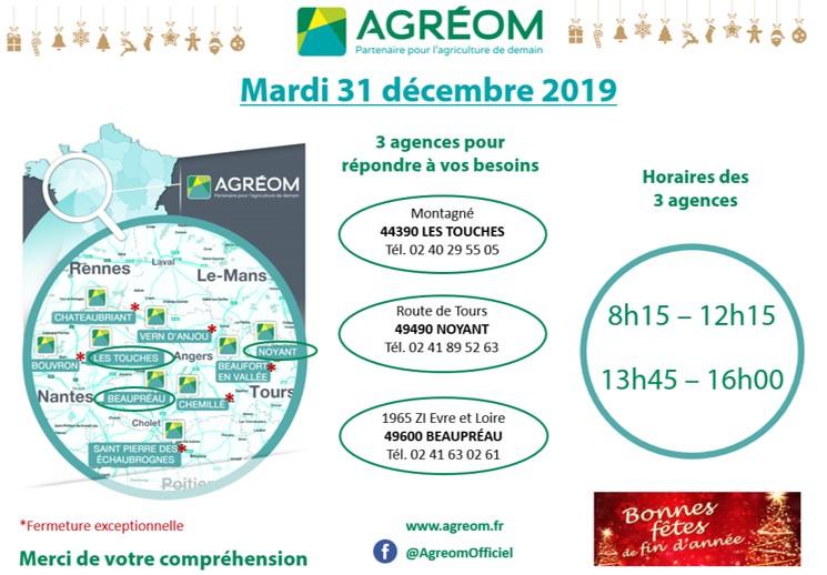 HORAIRES AGRÉOM 31 DECEMBRE 2019