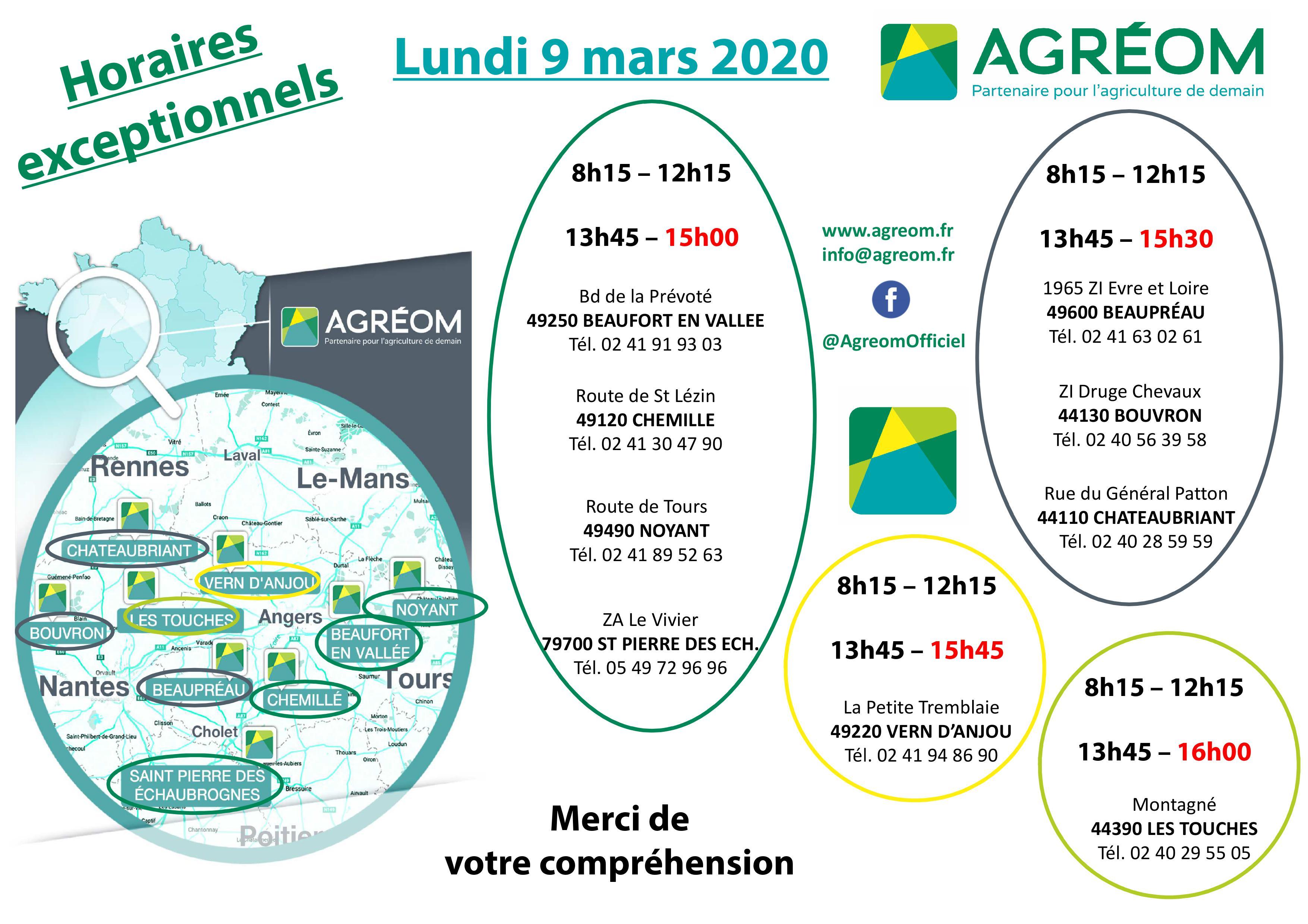HORAIRES AGRÉOM LUNDI 9 MARS 2020