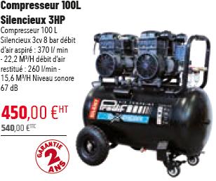 COMPRESSEUR 100L SILENCIEUX 3HP
